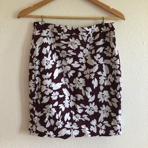 Maroon Floral Ann Taylor Skirt